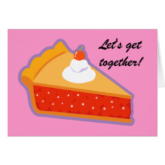 Cherry pie with whipped cream greeting card