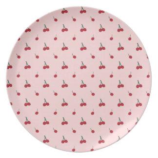 Cherry Pink Pattern Dinner Plates