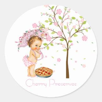 Cherry Preserves Canning Label Round Sticker
