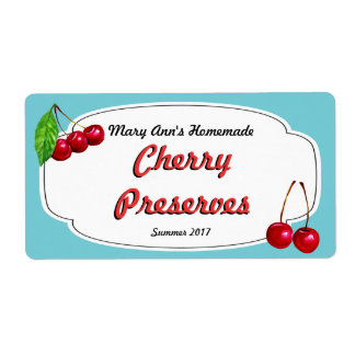Cherry Preserves Canning Labels