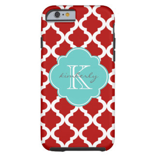 Cherry Red and Aqua Moroccan Quatrefoil Print Tough iPhone 6 Case