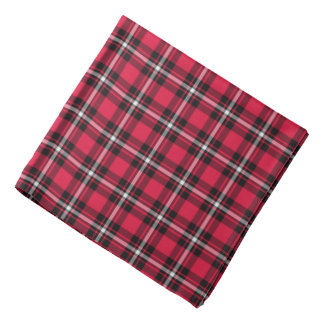 Cherry Red and Black Sporty Plaid Bandana