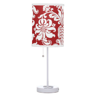 CHERRY RED AND WHITE DAMASK LAMP