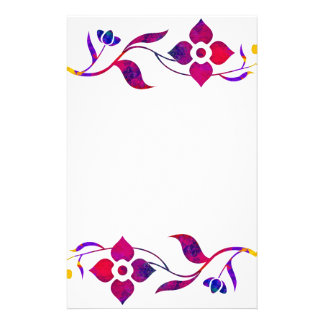 Cherry Red Flower Border Stationery