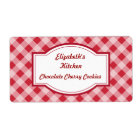 Cherry Red Gingham Kitchen Labels