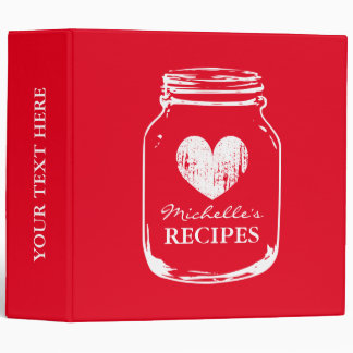 Cherry red mason jar kitchen recipe binder book