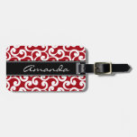 Cherry Red Monogrammed Elements Print Tags For Bags