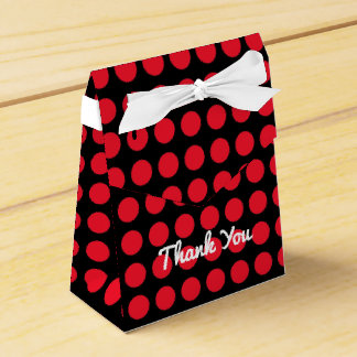 Cherry Red Polka Dots Tent Favor Box
