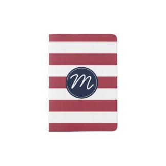 Cherry Red Stripe with Navy Blue Monogram Passport Holder