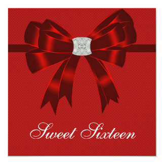 Cherry Red Sweet Sixteen Birthday Party Card