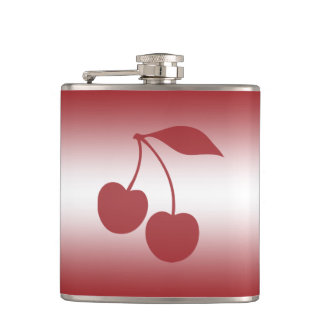 Cherry red to white gradient hip flask