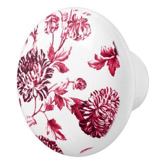 Cherry Red Vintage Floral Toile No.2 Ceramic Knob