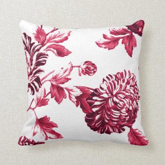 Cherry Red & White Floral Toile No.2 Throw Pillow