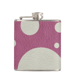 Cherry Scattered Spots on Stone Leather print Hip Flask