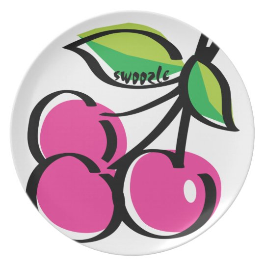 Cherry Swoozle Melamine Plate