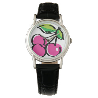 Cherry Swoozle Women's Black Leather Strap Watch