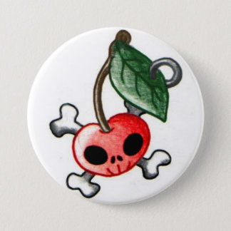 Cherry Tattoo 3 Inch Round Button
