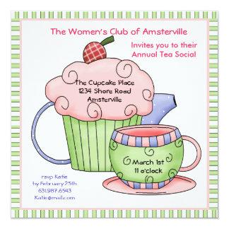 """Cherry Tea Pot Invitation. 5.25"""" Square Invitation Card"""