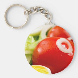 Cherry tomatoes and boiled eggs in a salad basic round button keychain