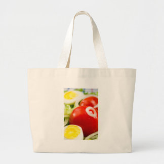 Cherry tomatoes and boiled eggs in a salad large tote bag