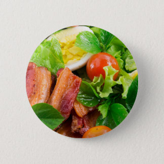 Cherry tomatoes, herbs, olive oil, eggs and bacon 2 inch round button