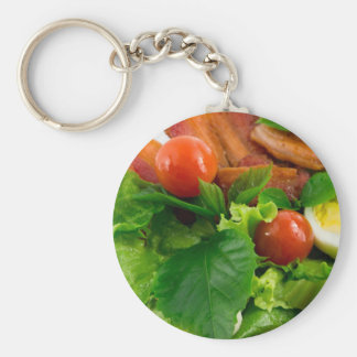 Cherry tomatoes, herbs, olive oil, eggs and bacon basic round button keychain
