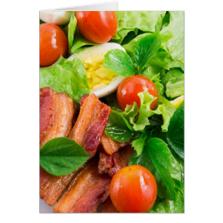 Cherry tomatoes, herbs, olive oil, eggs and bacon card