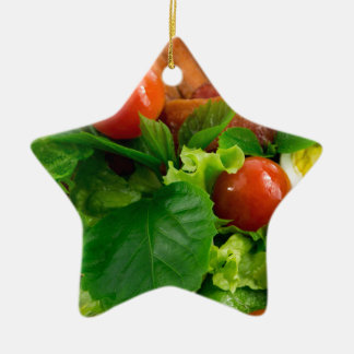 Cherry tomatoes, herbs, olive oil, eggs and bacon ceramic star ornament