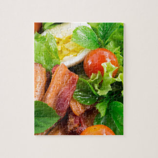 Cherry tomatoes, herbs, olive oil, eggs and bacon jigsaw puzzle