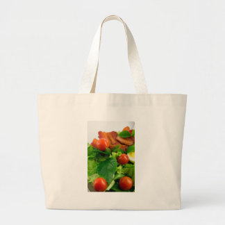 Cherry tomatoes, herbs, olive oil, eggs and bacon large tote bag