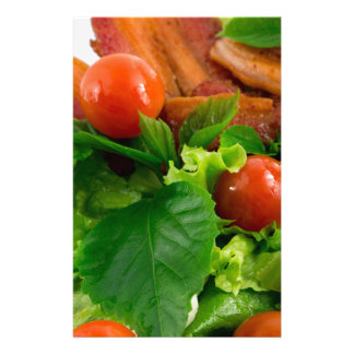 Cherry tomatoes, herbs, olive oil, eggs and bacon stationery