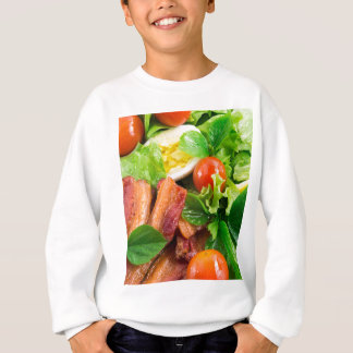 Cherry tomatoes, herbs, olive oil, eggs and bacon sweatshirt