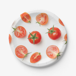 Cherry Tomatoes Isolated on White Background Paper Plate