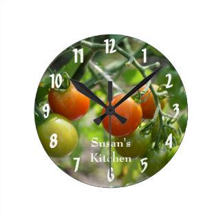 Cherry Tomatoes On The Vine Kitchen Round Clock