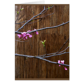 Cherry Tree Blossoms and Wood Pole Greeting Card