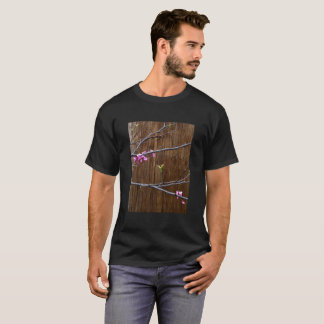 Cherry Tree Blossoms and Wood Pole Mens Tshirt