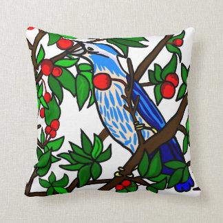 Cherry Tree Blue Bird Throw Pillow