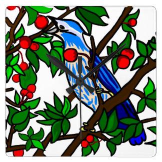 Cherry Tree Blue Bird Wallclock