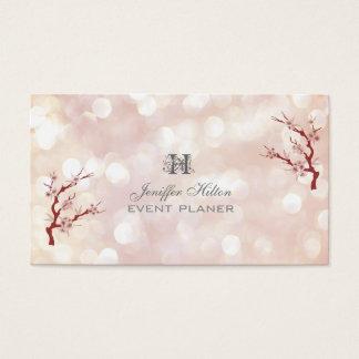 Cherry tree chic bokeh monogram business card