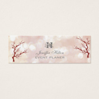 Cherry tree chic bokeh monogram mini business card