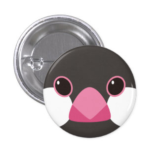 Cherry tree java sparrow - Java sparrow (black) 1 Inch Round Button