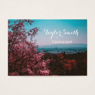 cherry tree pink city scenery nature business card
