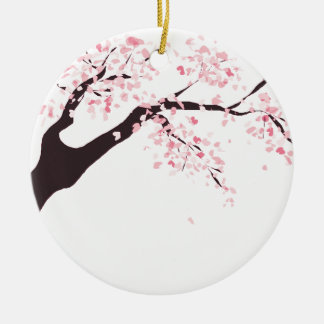 Cherry tree round ceramic ornament