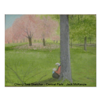 Cherry Tree Sketcher - Central Park Poster