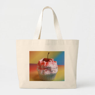 Cherry Vanilla Cupcake Large Tote Bag