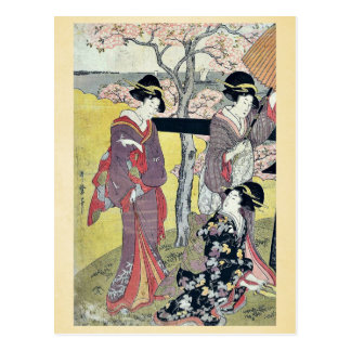 Cherry viewing at Gotenyama by Kitagawa, Utamaro Postcard