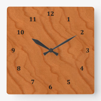 Cherry Wood Look Fine Grain Square Wall Clock