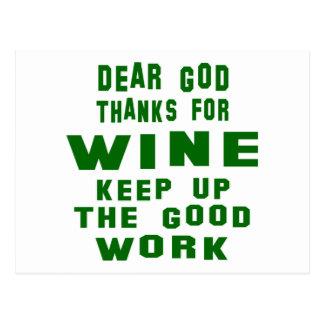 Chers mercis d'un dieu de vin cartes postales