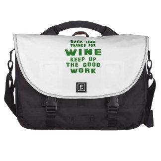 Chers mercis d'un dieu de vin sacs ordinateur portable