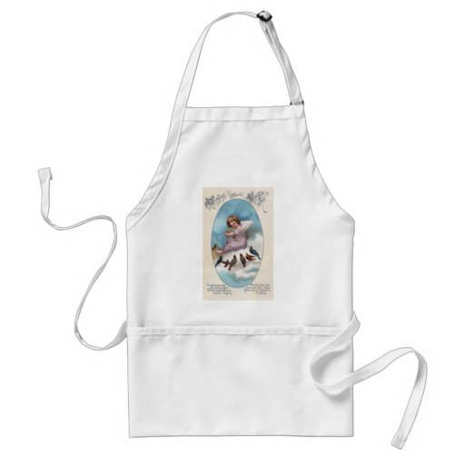 Cherub and Birds on Cloud Vintage Easter Apron